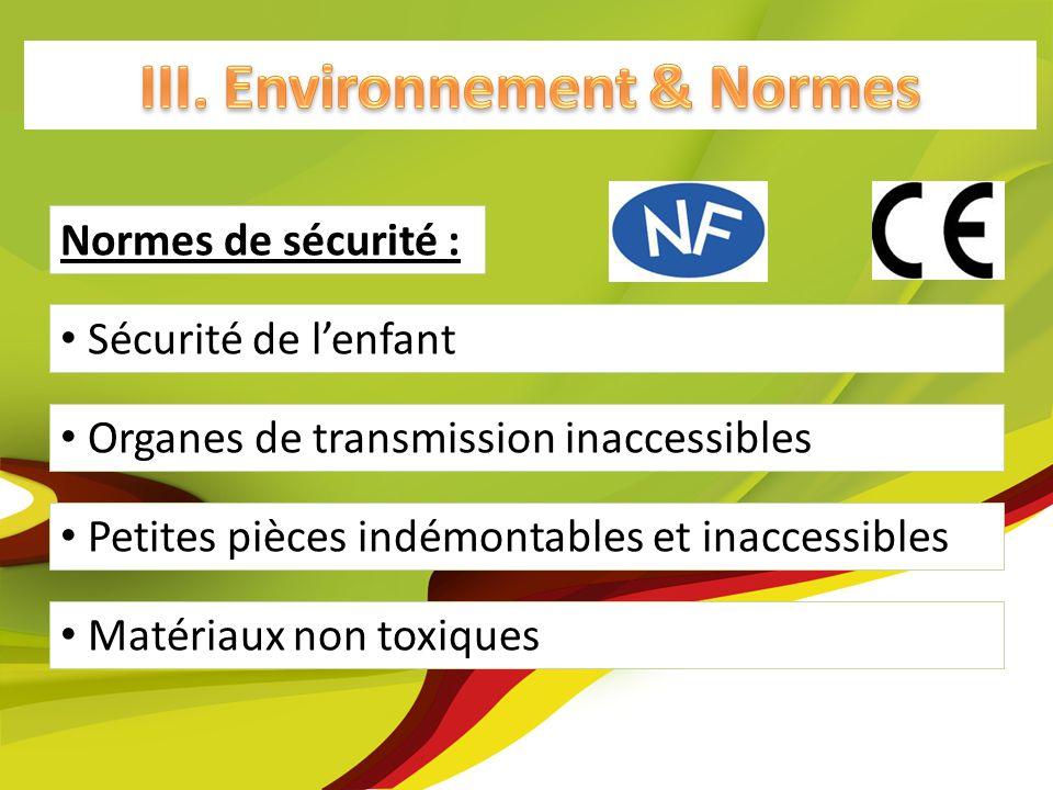 Matériaux non toxiques Petites pièces indémontables et inaccessibles Normes de sécurité : Sécurité de lenfant Organes de transmission inaccessibles