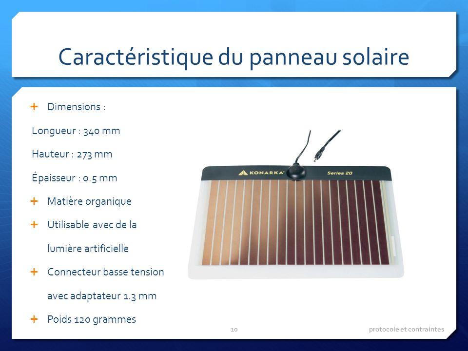 Caractéristique du panneau solaire Dimensions : Longueur : 340 mm Hauteur : 273 mm Épaisseur : 0.5 mm Matière organique Utilisable avec de la lumière