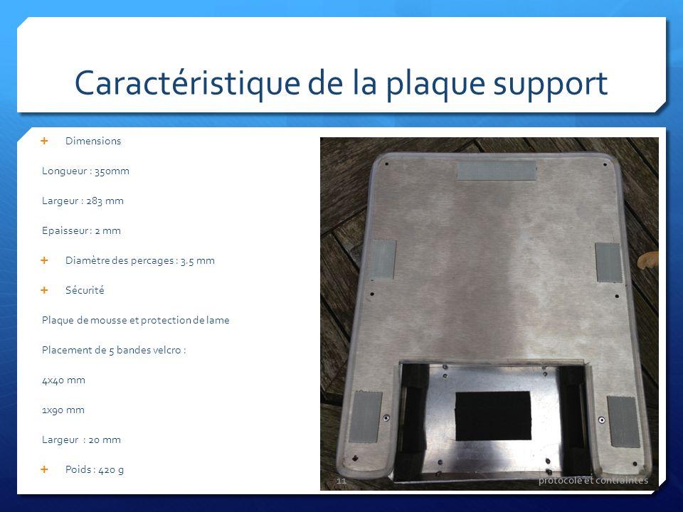 Caractéristique de la plaque support Dimensions Longueur : 350mm Largeur : 283 mm Epaisseur : 2 mm Diamètre des percages : 3.5 mm Sécurité Plaque de m