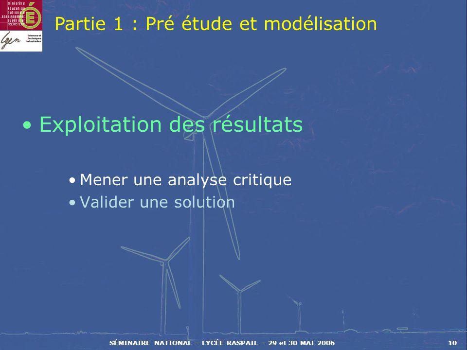SÉMINAIRE NATIONAL – LYCÉE RASPAIL – 29 et 30 MAI 200610 Exploitation des résultats Mener une analyse critique Valider une solution Partie 1 : Pré étu