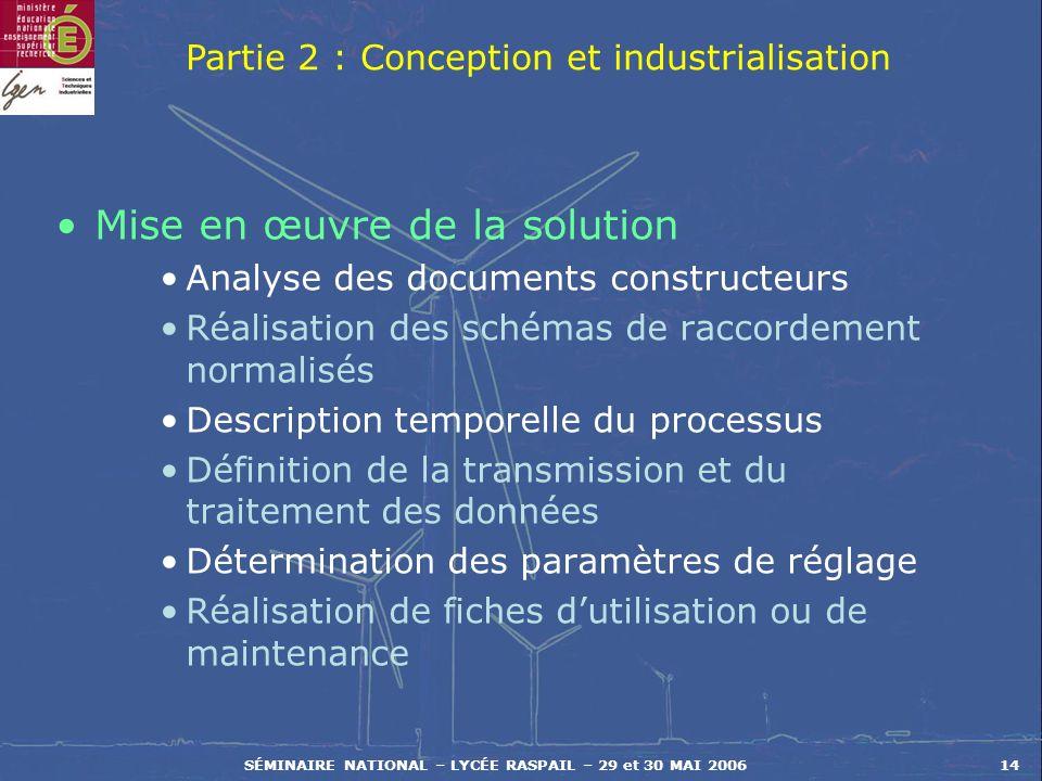 SÉMINAIRE NATIONAL – LYCÉE RASPAIL – 29 et 30 MAI 200614 Mise en œuvre de la solution Analyse des documents constructeurs Réalisation des schémas de r