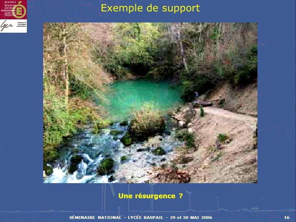 SÉMINAIRE NATIONAL – LYCÉE RASPAIL – 29 et 30 MAI 200616 Exemple de support Une résurgence ?