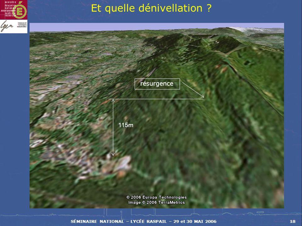 SÉMINAIRE NATIONAL – LYCÉE RASPAIL – 29 et 30 MAI 200618 Et quelle dénivellation ? résurgence 115m