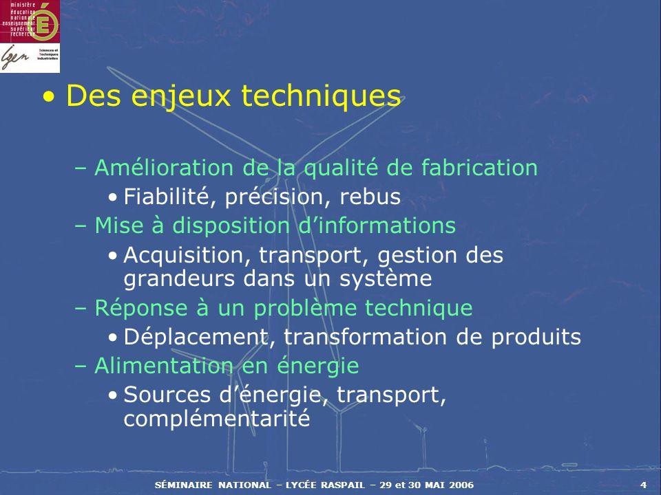 SÉMINAIRE NATIONAL – LYCÉE RASPAIL – 29 et 30 MAI 20064 Des enjeux techniques –Amélioration de la qualité de fabrication Fiabilité, précision, rebus –