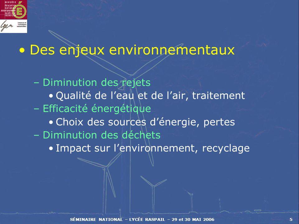 SÉMINAIRE NATIONAL – LYCÉE RASPAIL – 29 et 30 MAI 20065 Des enjeux environnementaux –Diminution des rejets Qualité de leau et de lair, traitement –Eff