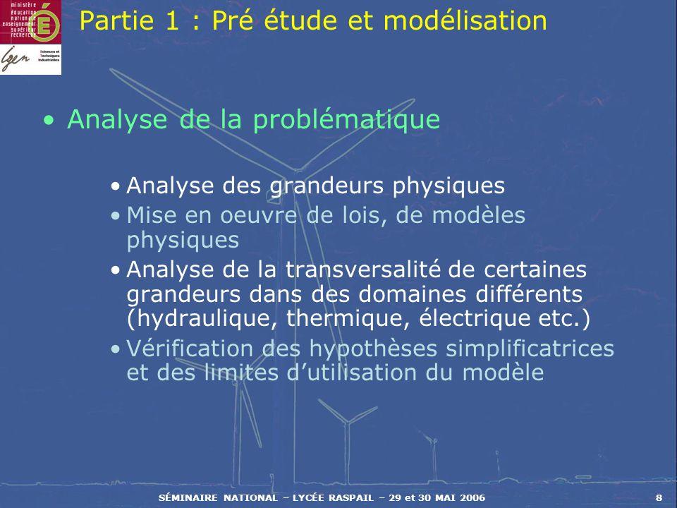 SÉMINAIRE NATIONAL – LYCÉE RASPAIL – 29 et 30 MAI 20068 Partie 1 : Pré étude et modélisation Analyse de la problématique Analyse des grandeurs physiqu
