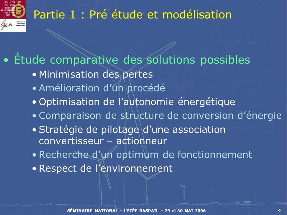 SÉMINAIRE NATIONAL – LYCÉE RASPAIL – 29 et 30 MAI 20069 Étude comparative des solutions possibles Minimisation des pertes Amélioration dun procédé Opt