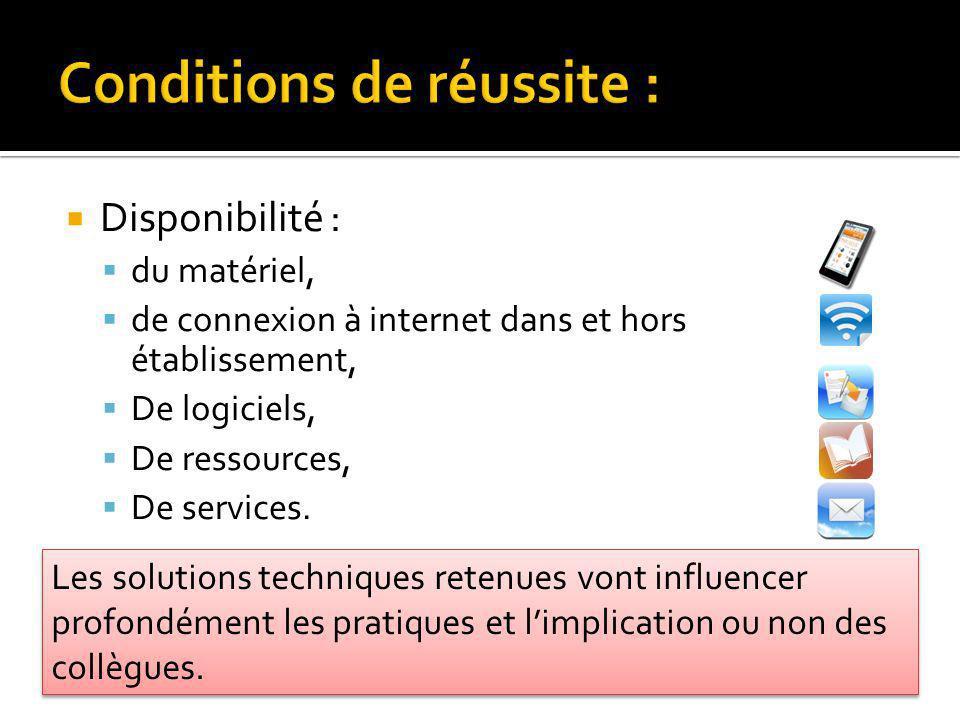 Disponibilité : du matériel, de connexion à internet dans et hors établissement, De logiciels, De ressources, De services. Les solutions techniques re