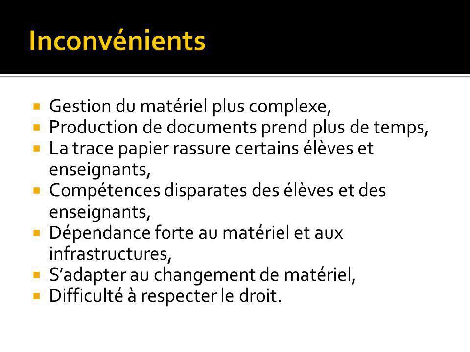Gestion du matériel plus complexe, Production de documents prend plus de temps, La trace papier rassure certains élèves et enseignants, Compétences di