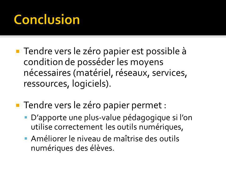 Tendre vers le zéro papier est possible à condition de posséder les moyens nécessaires (matériel, réseaux, services, ressources, logiciels). Tendre ve