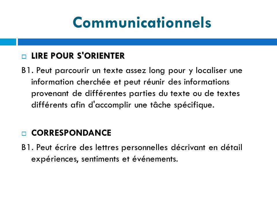 Communicationnels LIRE POUR S'ORIENTER LIRE POUR S'ORIENTER B1. Peut parcourir un texte assez long pour y localiser une information cherchée et peut r