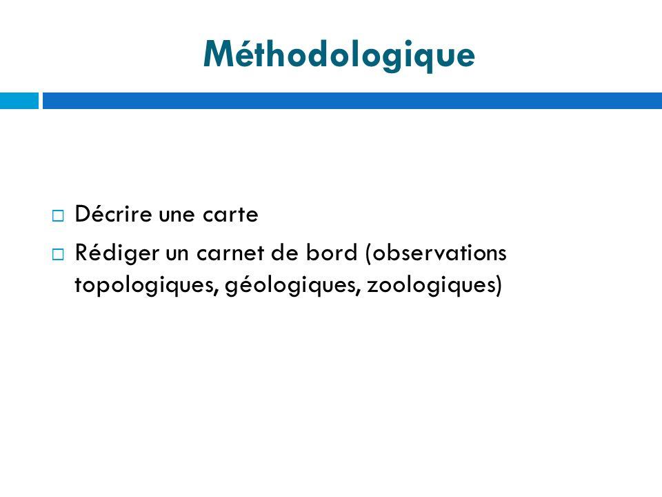 Méthodologique Décrire une carte Rédiger un carnet de bord (observations topologiques, géologiques, zoologiques)