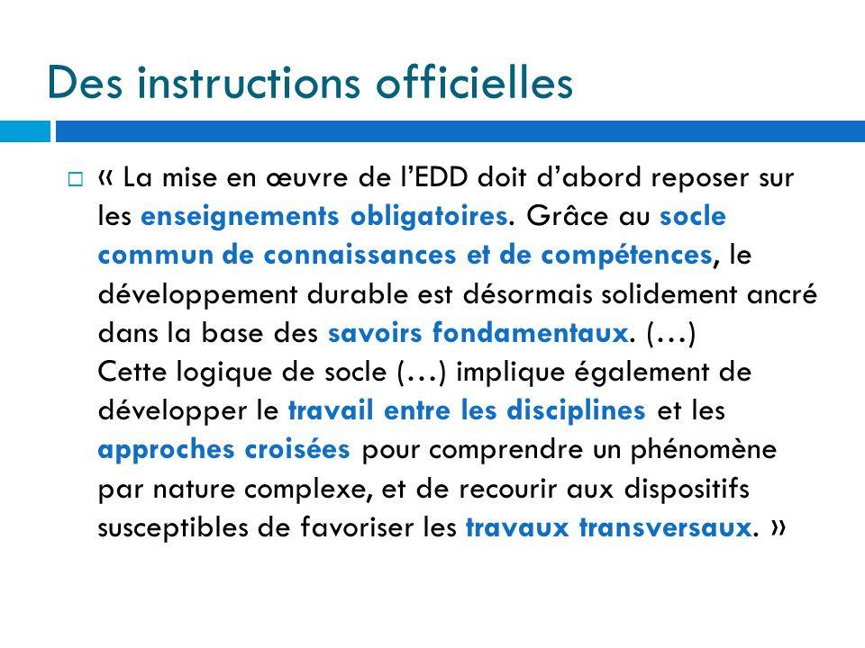 Des instructions officielles « La mise en œuvre de lEDD doit dabord reposer sur les enseignements obligatoires. Grâce au socle commun de connaissances