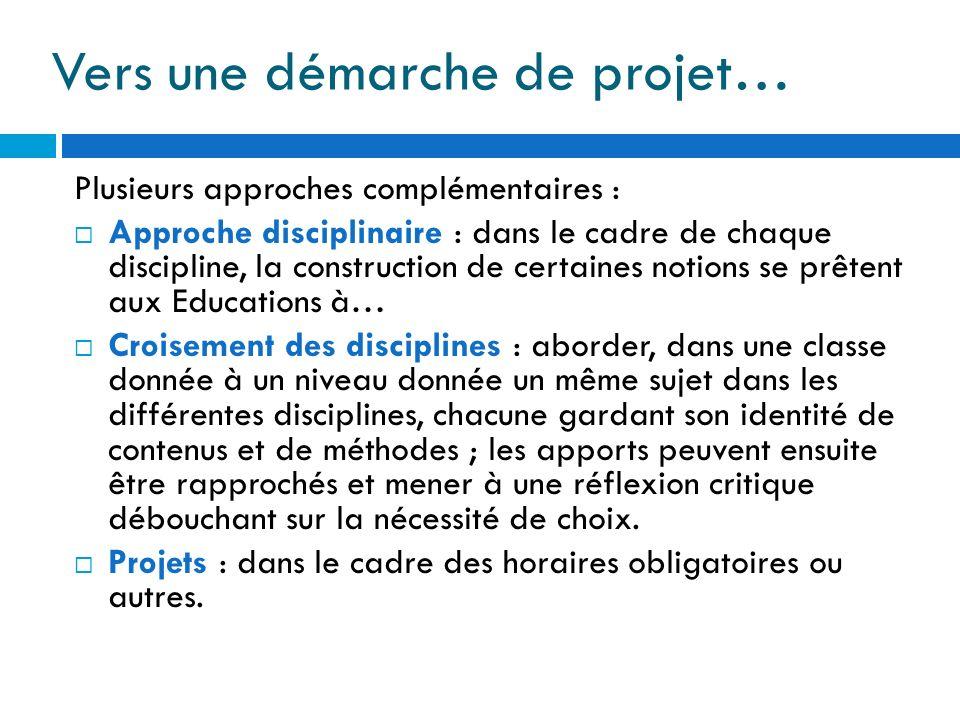 Vers une démarche de projet… Plusieurs approches complémentaires : Approche disciplinaire : dans le cadre de chaque discipline, la construction de cer