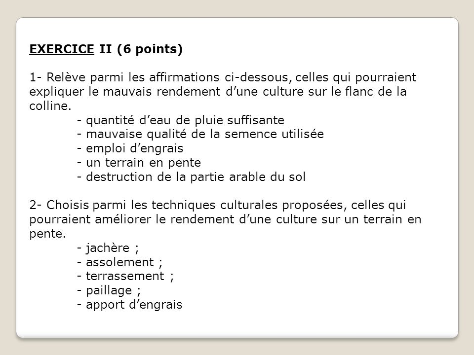 EXERCICE III (08 points) A la fin de la récréation, des élèves consomment des beignets de mil à la hâte.