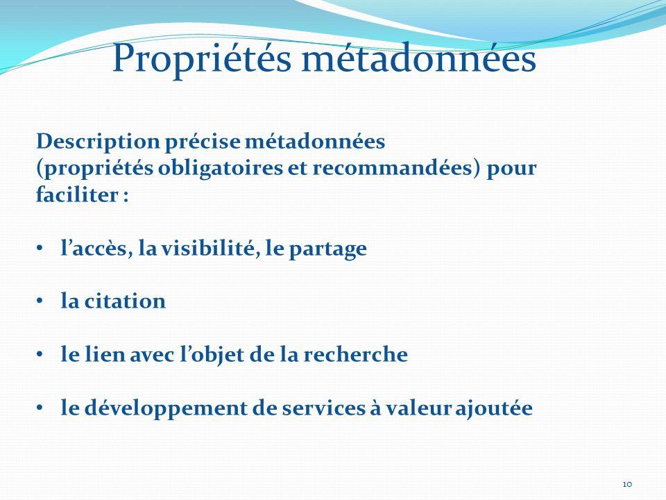 10 Propriétés métadonnées Description précise métadonnées (propriétés obligatoires et recommandées) pour faciliter : laccès, la visibilité, le partage la citation le lien avec lobjet de la recherche le développement de services à valeur ajoutée