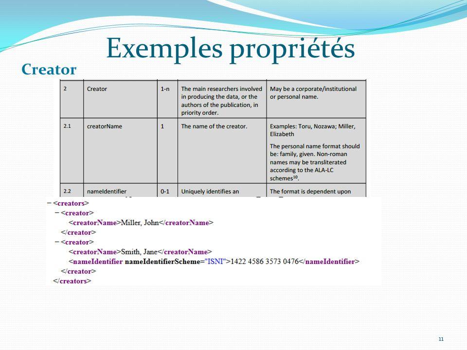 Exemples propriétés 11 Creator
