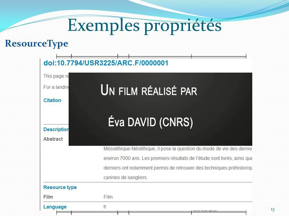 13 Exemples propriétés ResourceType