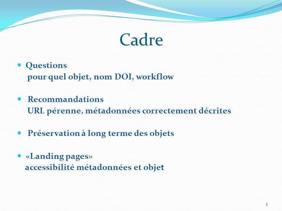 Cadre Questions pour quel objet, nom DOI, workflow Recommandations URL pérenne, métadonnées correctement décrites Préservation à long terme des objets