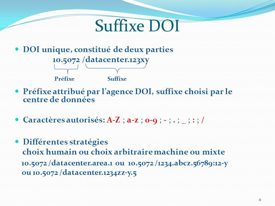 Suffixe DOI DOI unique, constitué de deux parties 10.5072 /datacenter.123xy Préfixe attribué par lagence DOI, suffixe choisi par le centre de données Caractères autorisés: A-Z ; a-z ; 0-9 ; - ;.