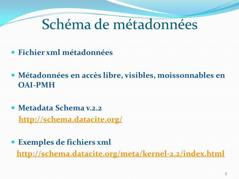 Schéma de métadonnées Fichier xml métadonnées Métadonnées en accès libre, visibles, moissonnables en OAI-PMH Metadata Schema v.2.2 http://schema.datac