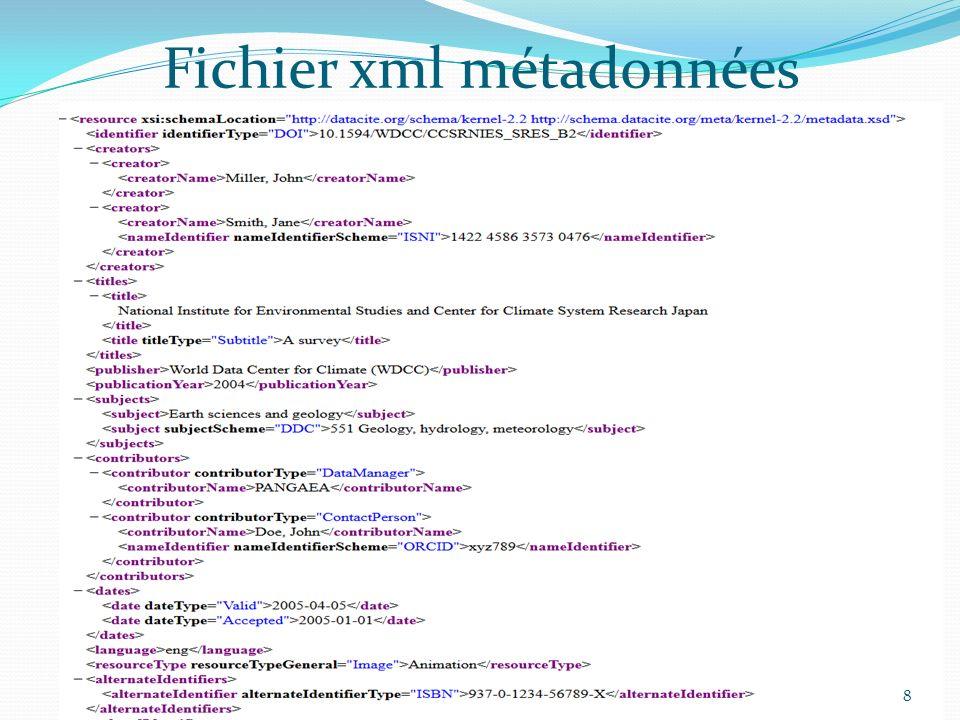 Fichier xml métadonnées 8