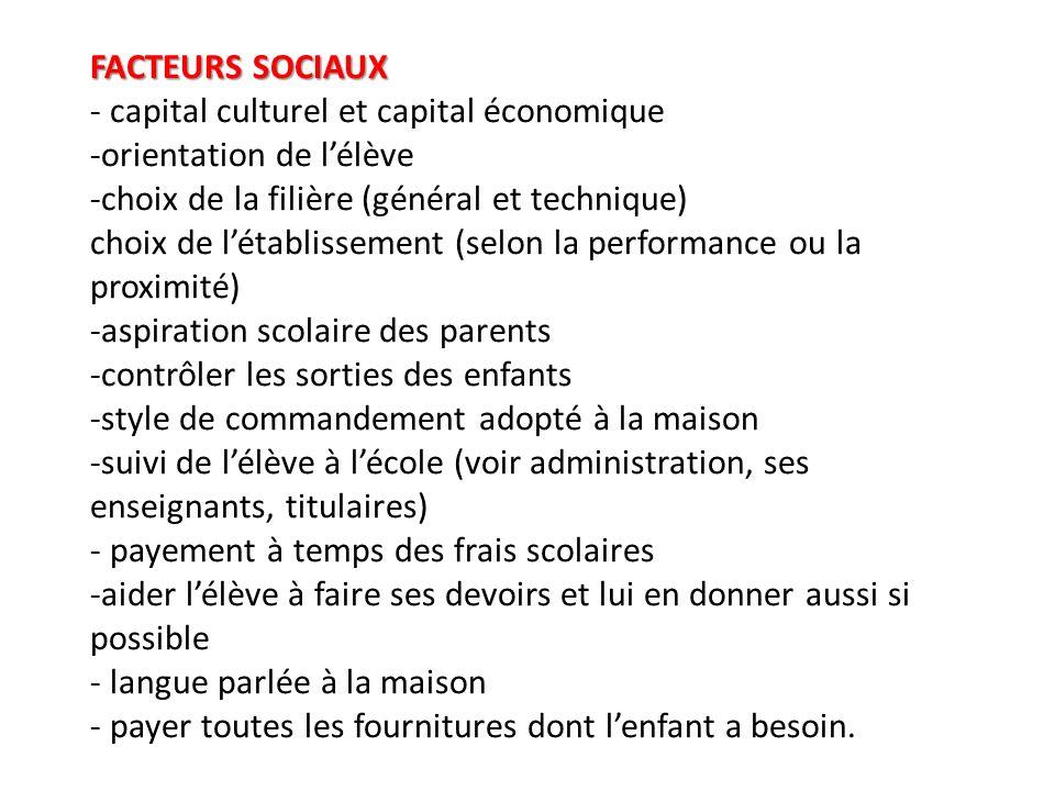 FACTEURS SOCIAUX FACTEURS SOCIAUX - capital culturel et capital économique -orientation de lélève -choix de la filière (général et technique) choix de