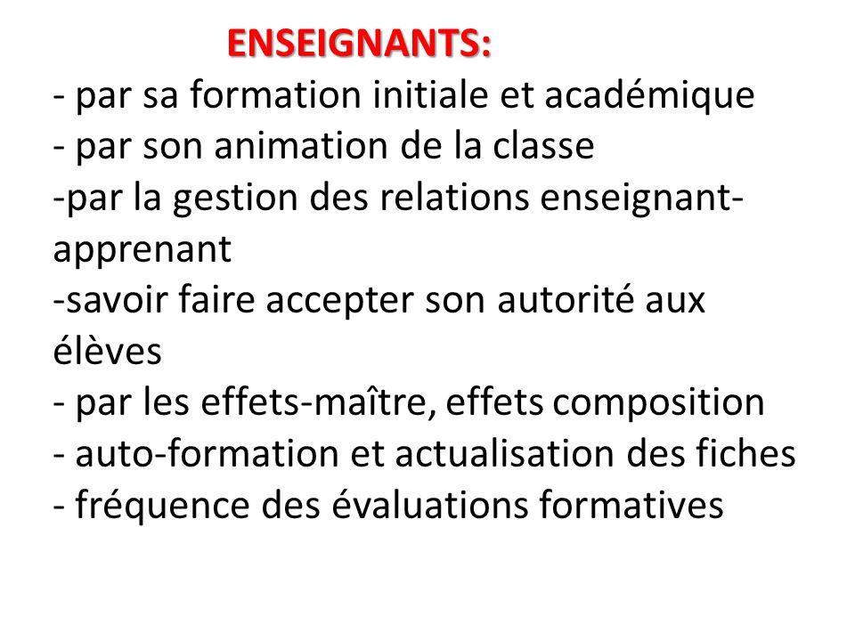 ENSEIGNANTS: ENSEIGNANTS: - par sa formation initiale et académique - par son animation de la classe -par la gestion des relations enseignant- apprena