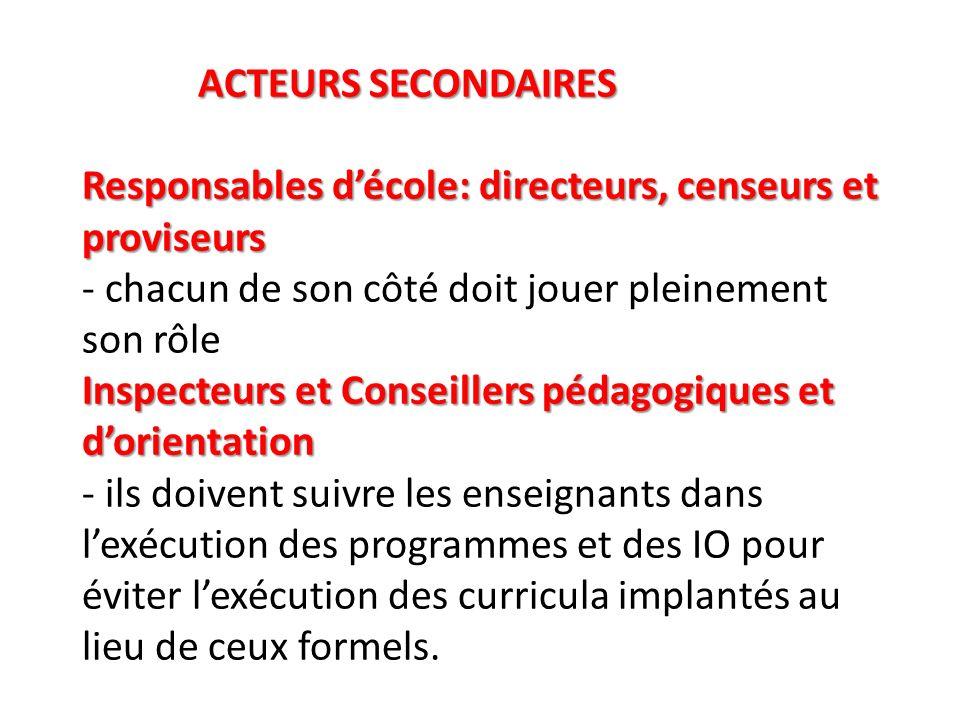 ACTEURS SECONDAIRES Responsables décole: directeurs, censeurs et proviseurs Inspecteurs et Conseillers pédagogiques et dorientation ACTEURS SECONDAIRE