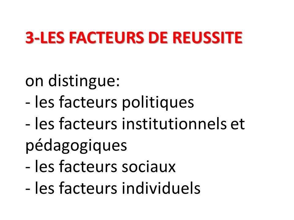 3-LES FACTEURS DE REUSSITE 3-LES FACTEURS DE REUSSITE on distingue: - les facteurs politiques - les facteurs institutionnels et pédagogiques - les fac