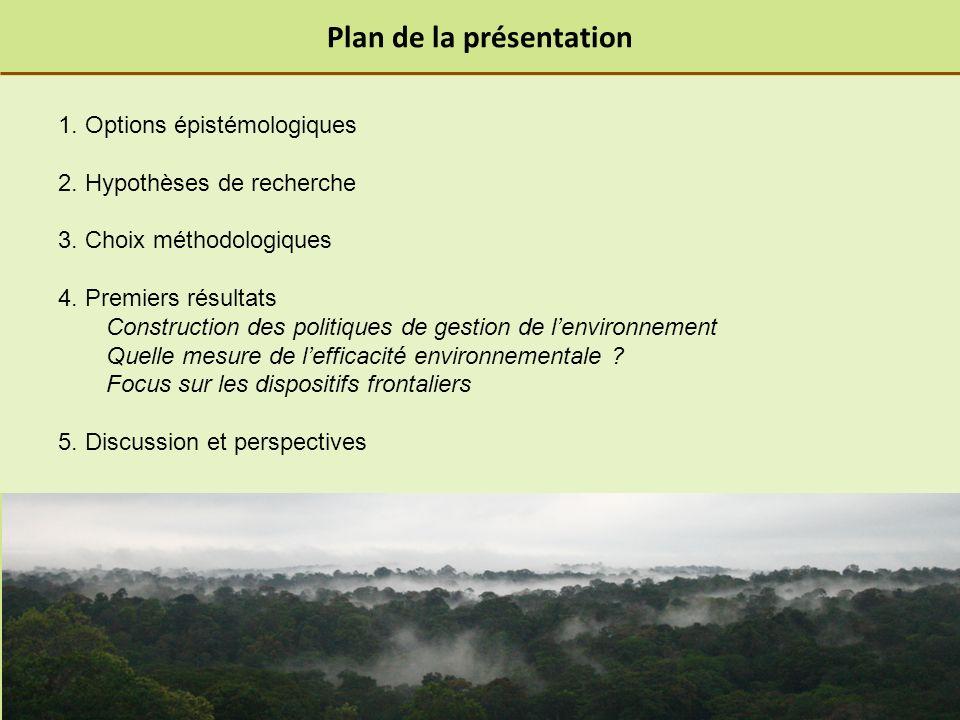 Plan de la présentation 1. Options épistémologiques 2.