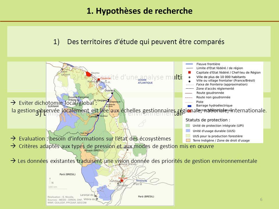 1. Hypothèses de recherche 3) Limportance des données environnementales pour lévaluation 2) La nécessité dune analyse multiscalaire 1)Des territoires