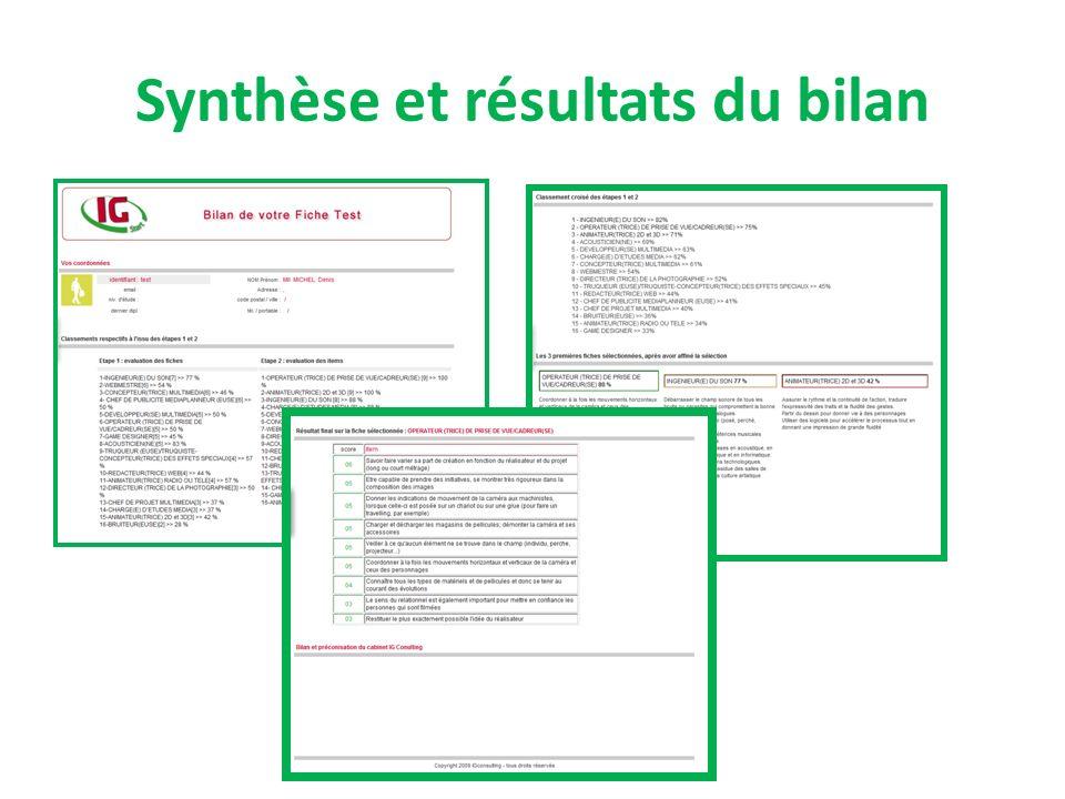 Synthèse et résultats du bilan