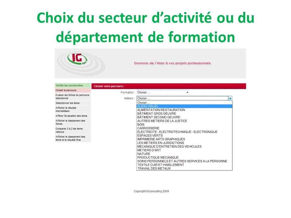 Choix du secteur dactivité ou du département de formation