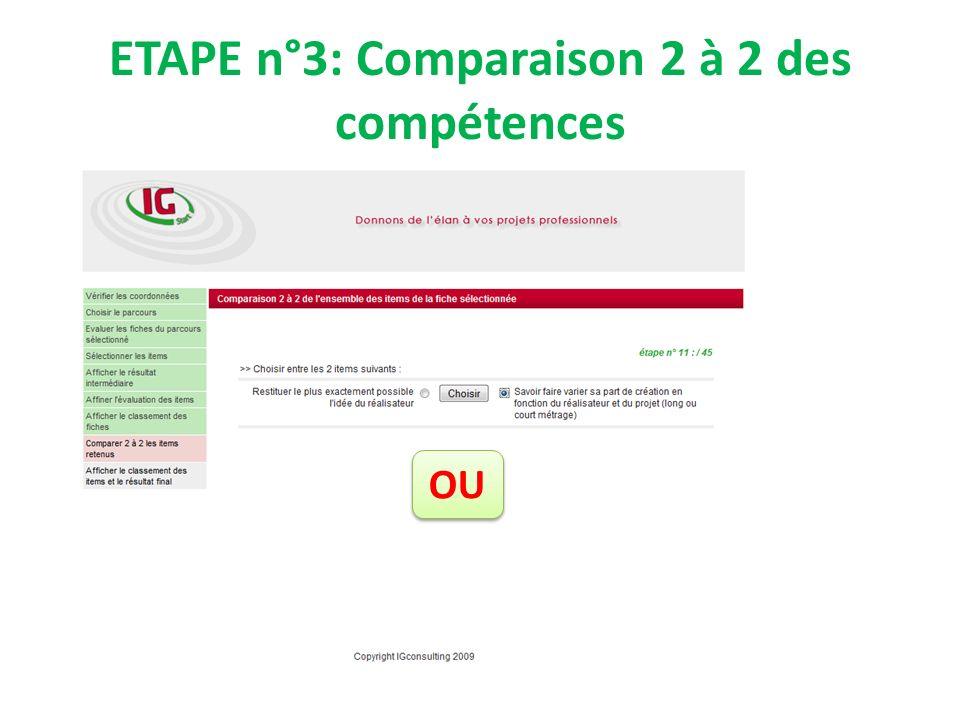 ETAPE n°3: Comparaison 2 à 2 des compétences OU