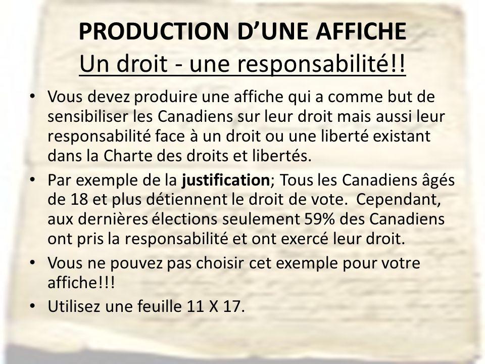 PRODUCTION DUNE AFFICHE Un droit - une responsabilité!.