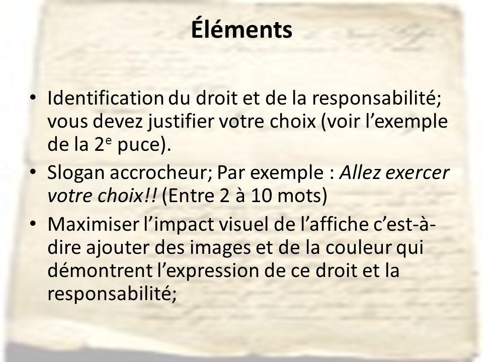 Éléments Identification du droit et de la responsabilité; vous devez justifier votre choix (voir lexemple de la 2 e puce).