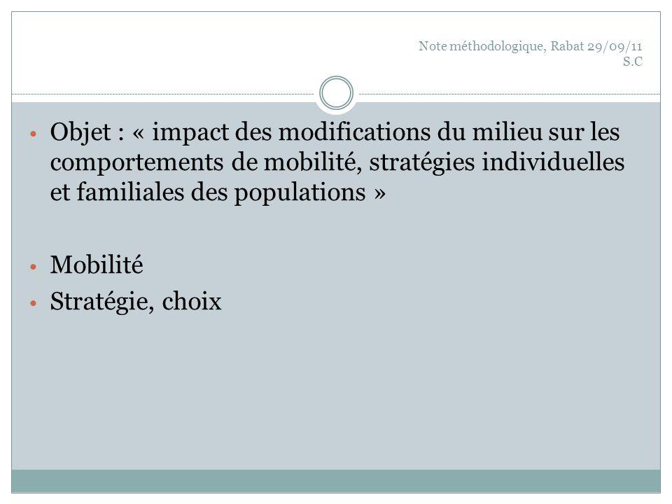 Note méthodologique, Rabat 29/09/11 S.C Objet : « impact des modifications du milieu sur les comportements de mobilité, stratégies individuelles et fa