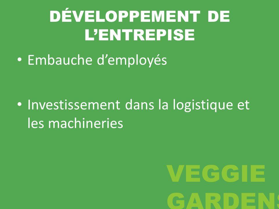 DÉVELOPPEMENT DE LENTREPISE Embauche demployés Investissement dans la logistique et les machineries