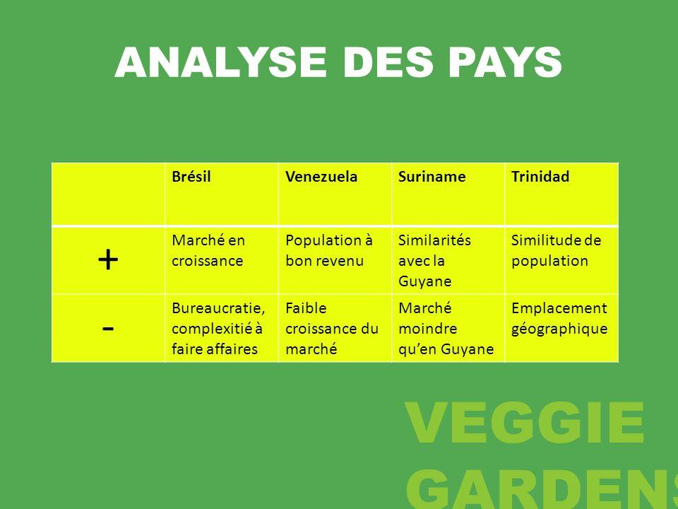 ANALYSE DES PAYS BrésilVenezuelaSurinameTrinidad + Marché en croissance Population à bon revenu Similarités avec la Guyane Similitude de population -