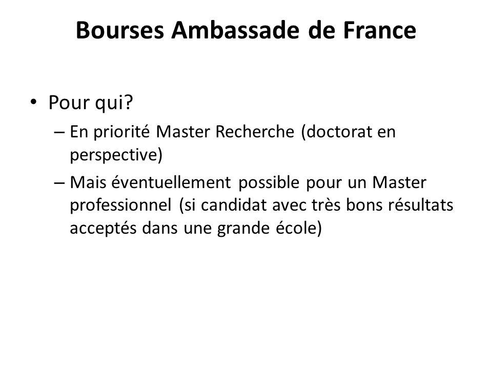 Bourses Ambassade de France Pour qui.