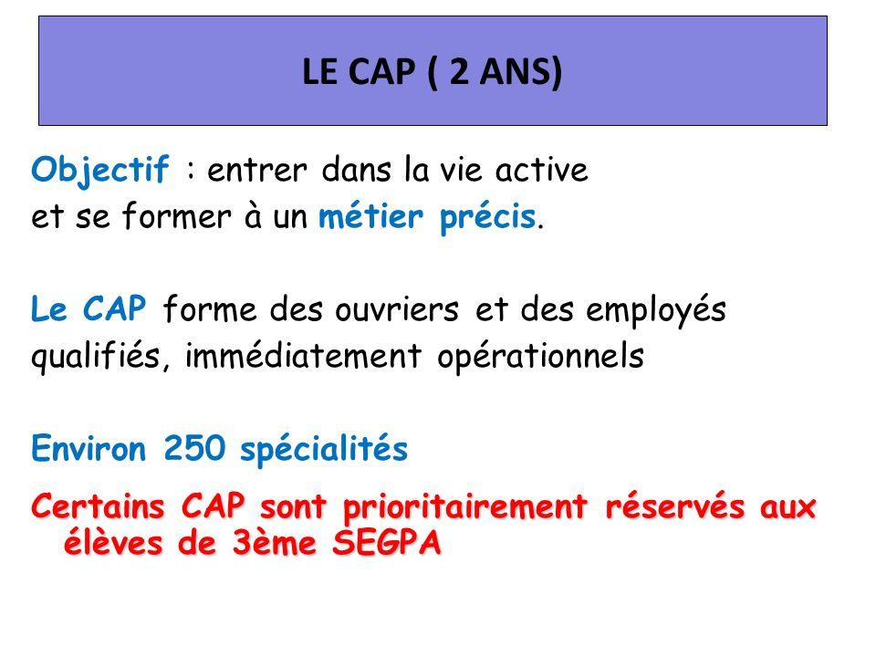 LE CAP ( 2 ANS) Objectif : entrer dans la vie active et se former à un métier précis. Le CAP forme des ouvriers et des employés qualifiés, immédiateme