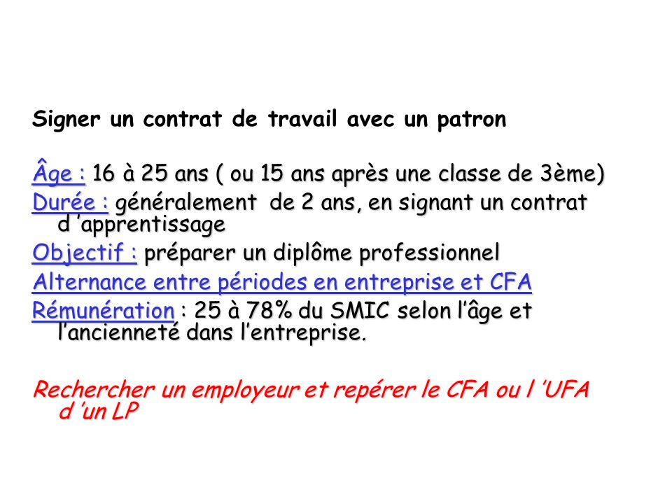 Signer un contrat de travail avec un patron Âge : 16 à 25 ans ( ou 15 ans après une classe de 3ème) Durée : généralement de 2 ans, en signant un contr
