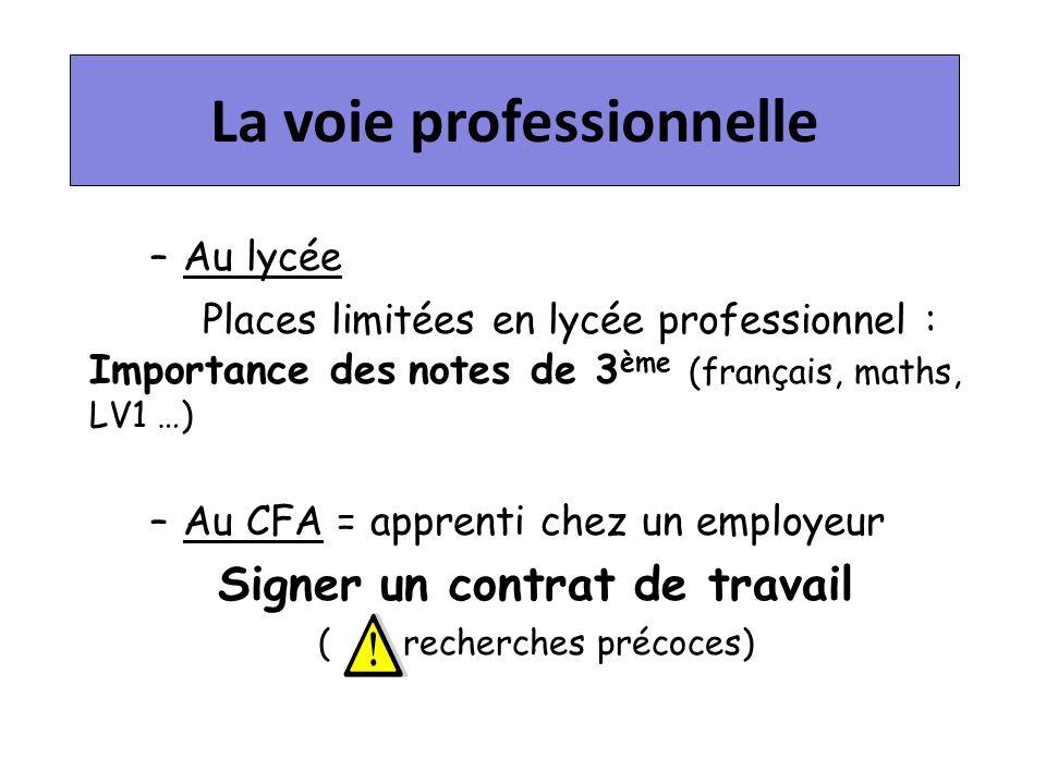 La voie professionnelle –Au lycée Places limitées en lycée professionnel : Importance des notes de 3 ème (français, maths, LV1 …) –Au CFA = apprenti chez un employeur Signer un contrat de travail ( recherches précoces)