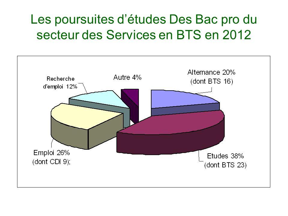 Les poursuites détudes Des Bac pro du secteur des Services en BTS en 2012