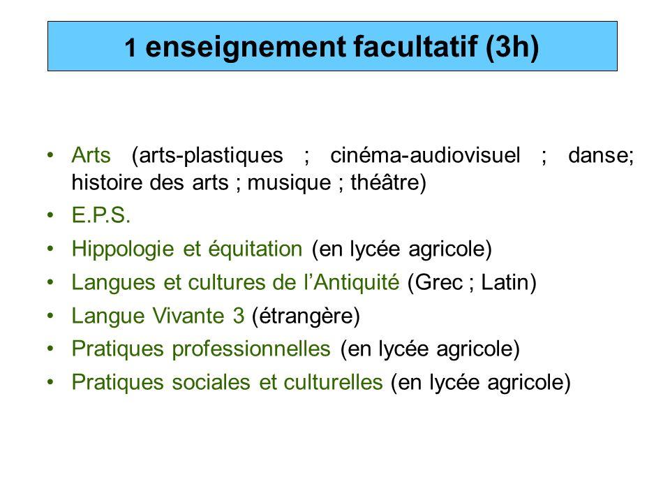 Arts (arts-plastiques ; cinéma-audiovisuel ; danse; histoire des arts ; musique ; théâtre) E.P.S. Hippologie et équitation (en lycée agricole) Langues