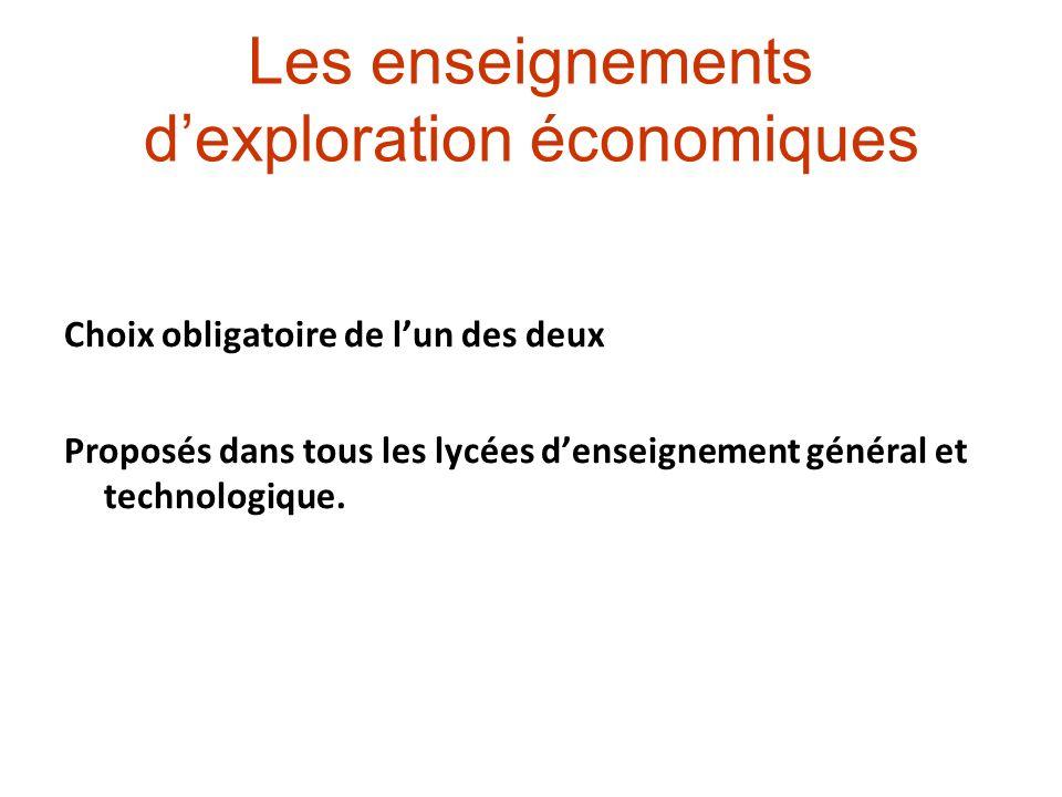 Les enseignements dexploration économiques Choix obligatoire de lun des deux Proposés dans tous les lycées denseignement général et technologique.