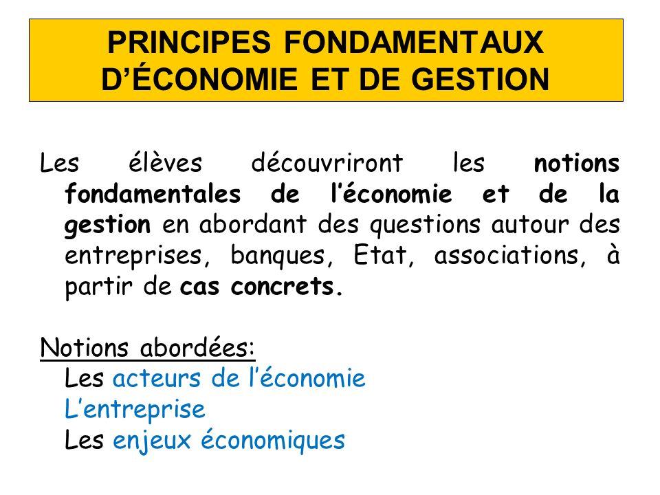 PRINCIPES FONDAMENTAUX DÉCONOMIE ET DE GESTION Les élèves découvriront les notions fondamentales de léconomie et de la gestion en abordant des questio