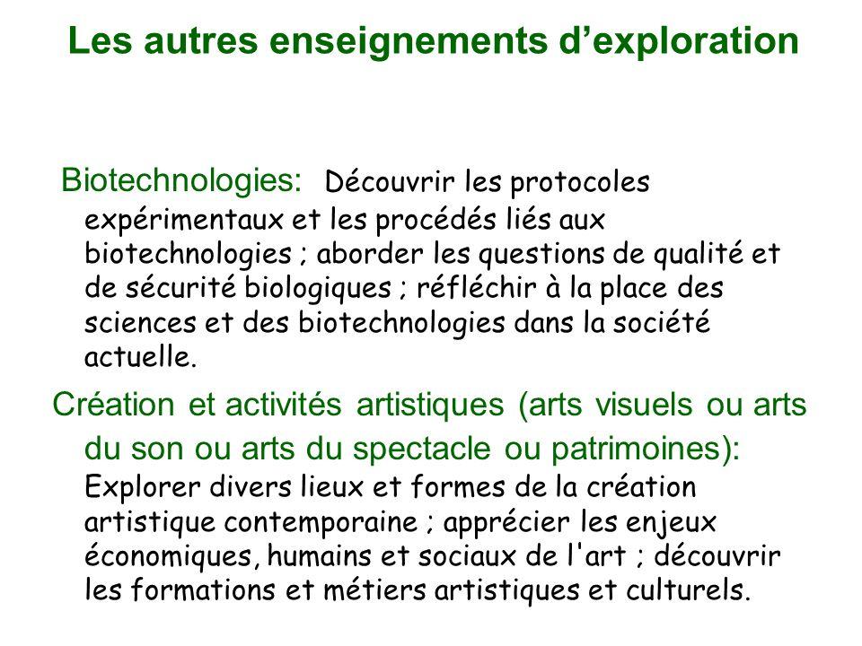 Les autres enseignements dexploration Biotechnologies: Découvrir les protocoles expérimentaux et les procédés liés aux biotechnologies ; aborder les questions de qualité et de sécurité biologiques ; réfléchir à la place des sciences et des biotechnologies dans la société actuelle.