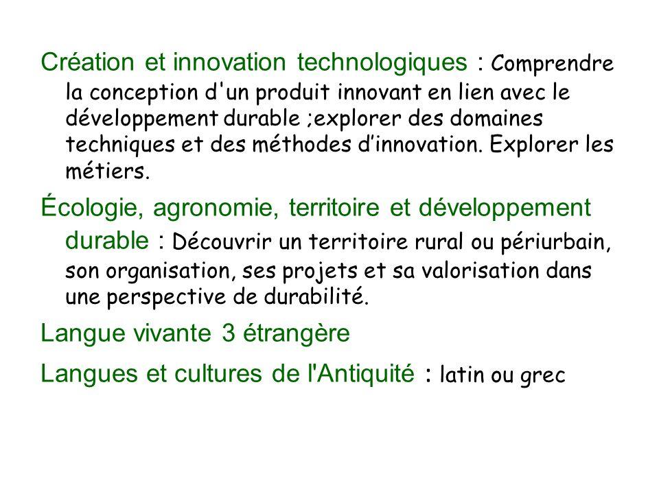 Création et innovation technologiques : Comprendre la conception d un produit innovant en lien avec le développement durable ;explorer des domaines techniques et des méthodes dinnovation.